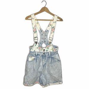 Vintage 80's/90's Acid Wash Floral Shorts Overalls